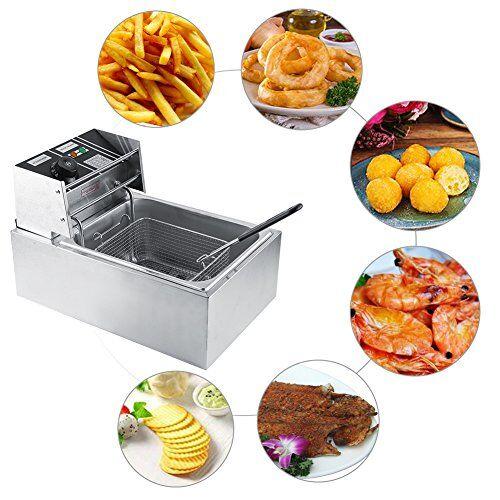 gototop friggitrice elettrica friggitrice ad olio professionale,con pannello di controllo temperatura e timer regolabile, acciaio inossidabile per pollo, gamberetti, 6l,44 x 28.5 x 28cm