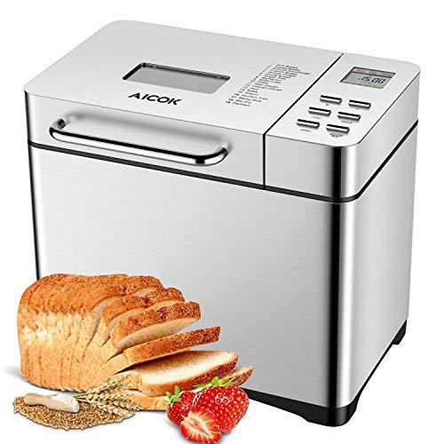 aicok - macchina per il pane in acciaio inox da 650w, con 19 programmi, contenitore automatico per ingredienti, peso del pane 500 -1000 g, funzione timer 15 ore, finestra, color argento
