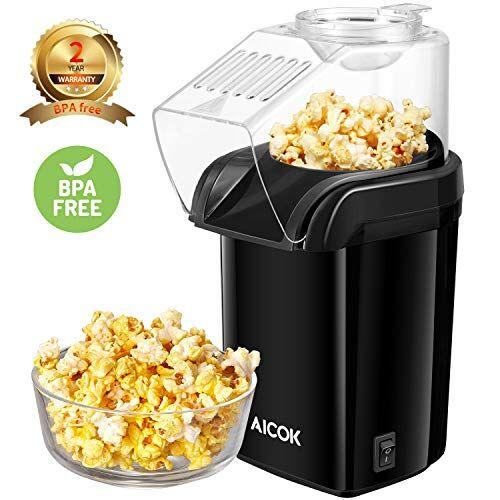 Aicok Macchina per Popcorn, Popcorn Popper Compatta ad Aria Calda Senza Olio e Grassi, Retro Macchina Pop Corn con Design a Bocca Larga, 1200W, Senza BPA, include Misurino e Coperchio Rimovibile