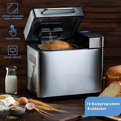 homdox, macchina per il pane con 19 programmi per pane da 500 g e 1000 g, 710 w, 15 ore di funzione timer, funzione di mantenimento in caldo, finestra e schermo led, argento