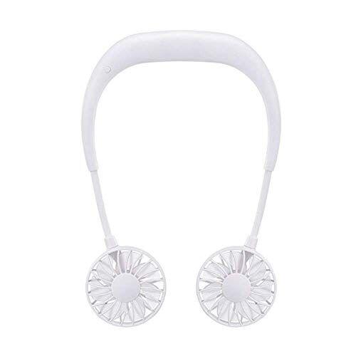 Chirs offer Chirs offrono 2000 mAh 5 stili mani libere collo Band mani libere appeso USB ricaricabile doppia ventola Mini Air Cooler Estate Portatile bianco