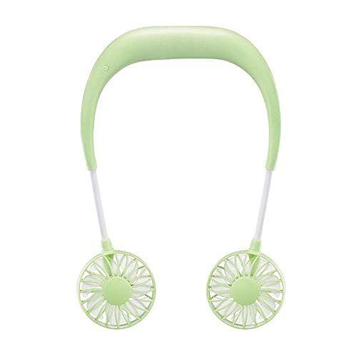 Chirs offer Chirs offrono 2000 mAh 5 stili mani libere collo Band mani libere appeso USB ricaricabile doppia ventola Mini Air Cooler Estate Portatile Verde