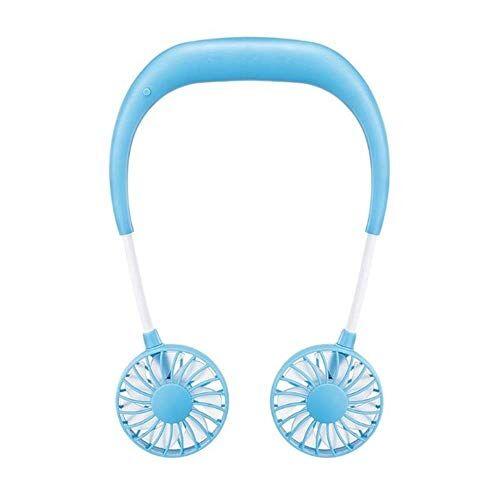Chirs offer Chirs offrono 2000 mAh 5 stili mani libere collo Band mani libere appeso USB ricaricabile doppia ventola Mini Air Cooler Estate Portatile Blu