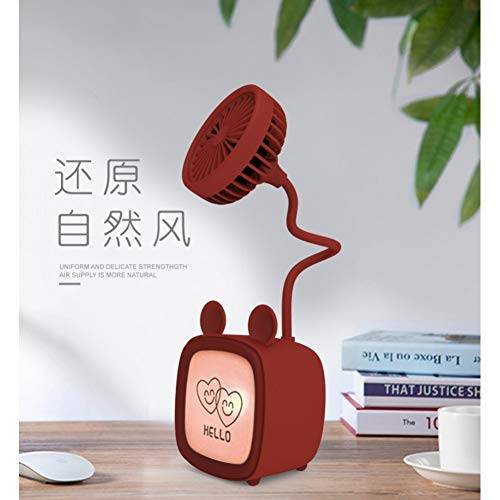 wwwff TV giocattoli per bambini luci colorate desktop mini ventilatore stereo USB ricarica piccolo ventilatore portatile