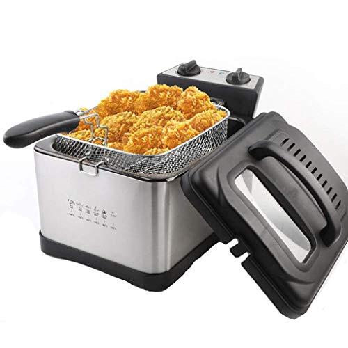 Jueven Household commerciale elettrico friggitrice senza fumo 4.5L grande capacit di controllo di temperatura di temperatura costante Quando fritto di pollo e patatine macchina 2000W in acciaio inox