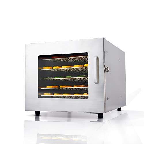 meykey essiccatore in acciaio inox con regolatore di temperatura, 6 livelli 600w
