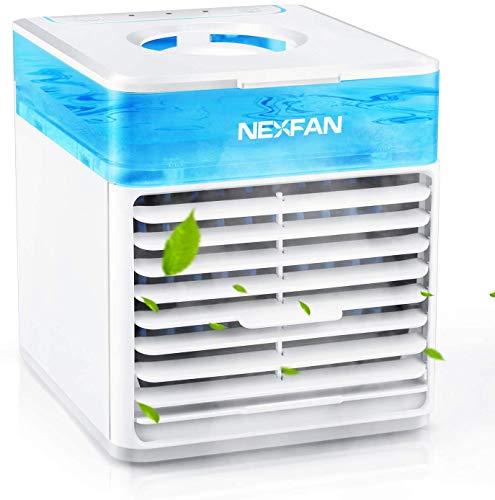 nexfan condizionatore portatile mini raffreddatore d'aria, 3 in 1 aria condizionata, umidificatore e purificatore d'aria, air cooler per casa/ufficio/camper, con 3 velocit(a)