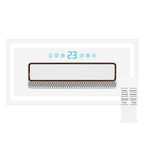 Lapden Embedded soffitto Aria condizionata, Indoor Air Curtain con Bluetooth Speaker & Fresh Air ionizzatore, Timer e telecomando circolatore Ventilatore per Indoor, camera da letto e Home Office,Remote