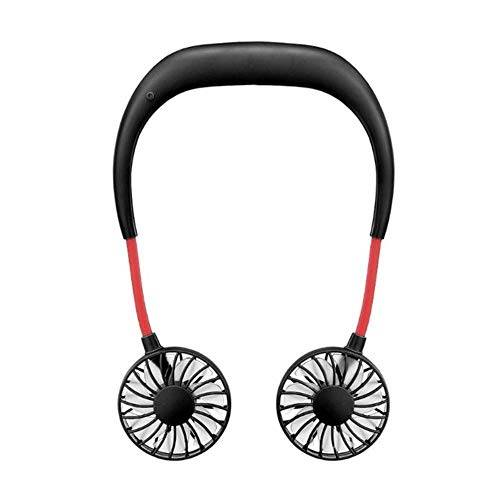 Chirs offer Chirs offrono 2000 mAh 5 stili mani libere collo Band mani libere appeso USB ricaricabile doppia ventola Mini Air Cooler Estate Portatile Nero