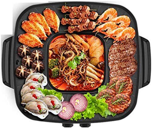 linannan barbecue elettrico hot pot multifunzione stile coreano barbecue poke hot pot antiaderenti potente piano cottura grill doppio pot