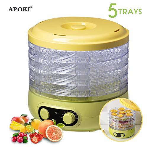 apoki essiccatore frutta e verdura,apoki essiccatore alimentare, essiccatori per alimenti dehydrator 35-70 con 5 ripiani per carne/frutta/verdura, bpa-frei,220w