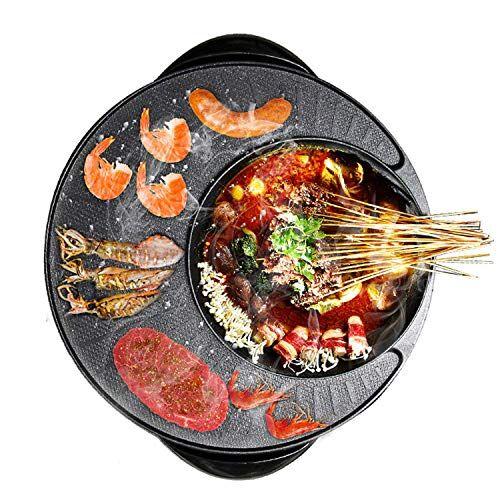 ddl barbecue elettrico pot, griglia for barbecue portatile, con coperchio in vetro, for 2-12 persone, 220v, 1200w-1500w ddls