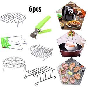 Jorzer Set di accessori per friggitrice ad aria da 6 pezzi, tra cui cestello da forno da 8 pollici, clip per scodella calda, cestello per uova al vapore(4.2QT-6.8QT)