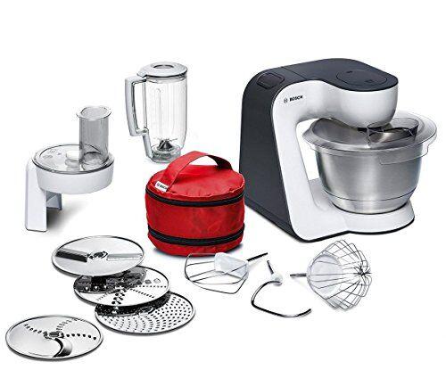 Bosch Styline MUM52120 Robot da cucina 700 W, ciotola in acciaio INOX, sminuzzatore, inserto mixer in plastica, gancio in metallo per impastare, frusta da cucina, colore bianco / antracite