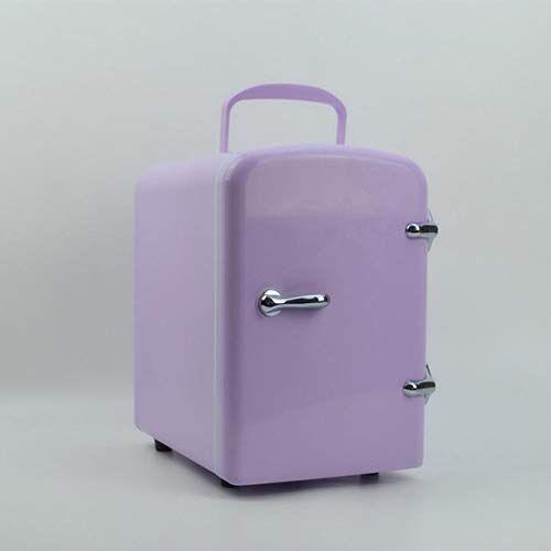 miwaimao mini frigo cooler 4l e personale cibo frigorifero semiconduttori frigorifero elettronico leggero e compatto caldo, cosmetici,viola