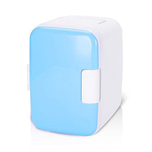wakects mini frigo per auto, 12 v, 4 litri/6 lattine, elettrico, raffredda e riscalda, portatile, con sistema termoelettrico, per campeggio, viaggi, dimensioni interne 20 x 14 x 14 cm blue