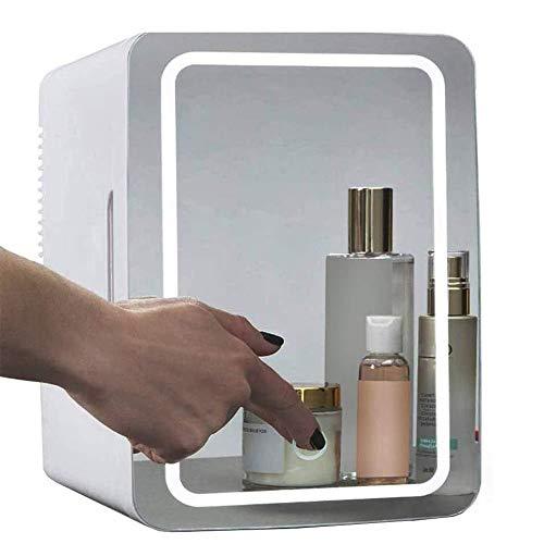 suneagle mini frigo per trucco, frigorifero cosmetico portatile da 8 litri, pannello in vetro e illuminazione a led, frigorifero/congelatore pi caldo, usato per casa, auto,white