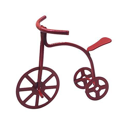 exceart triciclo casa delle bambole bici giocattolo mini triciclo decorazione casa delle bambole ornamento mini accessori casa