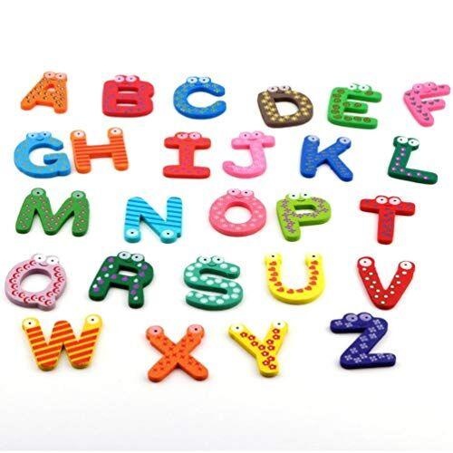 JICHUIO Giocattoli per bambini 26 pezzi/set Alfabeto in legno Cartoon Magneti AZ Giocattoli educativi per bambini Adesivi per frigorifero in legno per regali Vari colori