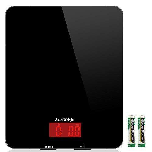 ACCUWEIGHT Bilancia da Cucina Digitale con Alta Precisione, Multifunzionale Bilancia da Cucina Elettronica, Design Liscio Facile da Pulire, LCD Display Retroilluminato, 5kg