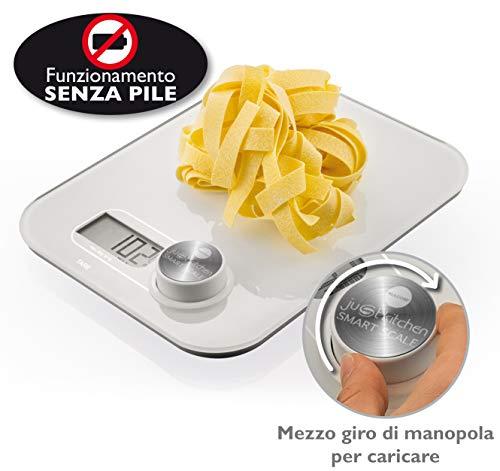 MACOM Just Kitchen 868 Smart Scale Bilancia Elettronica per Alimenti senza Batterie, Bianco