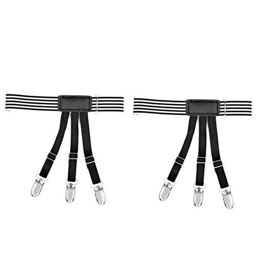 seniormar cintura a fascia elastica per gamba alta strisce bianche e nere gentiluomo per camicia uniforme leggings reggicalze giarrettiere clip antiscivolo