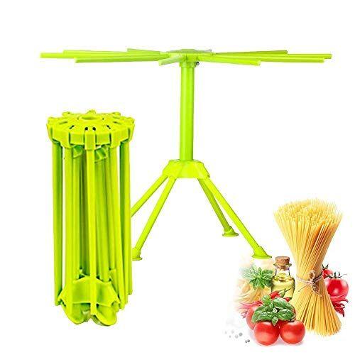 LARRY SHELL Cucina pasta stendino pieghevole spaghetti rack stendino Noodle stand con 10 bar maniglie (verde)