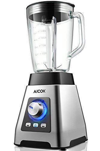 AICOK Frullatore, Aicok Frullatore per Frullati e Smoothie 1000W,6 Lame Tritaghiaccio in Acciaio Inox, 7 Velocita+Pulse, 24000 RPM, Tazza Graduata da 1,5 L, Senza BPA