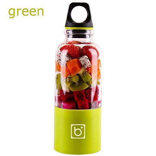H&R HR, spremiagrumi elettrico portatile, ricaricabile tramite USB, automatico, per verdure e frutta, frullatore per viaggi all'aperto, 500 ml (verde)
