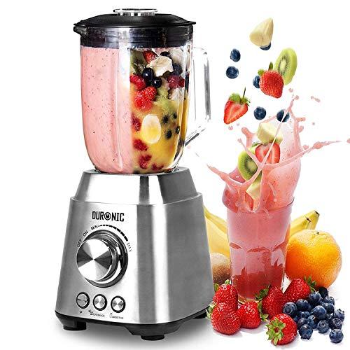 Duronic BL102 Frullatore da tavolo   blender   mixer cucina INOX 1000 W - Caraffa in vetro 1,5 L - Ideale per Smoothie, Frullati, Gaspachos, Nocciole, Granite, Cocktail, Frutta, Verdure