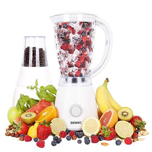 Duronic BL4 Frullatore e grinder/tritatutto 400W Caraffa 1.5l Blender mixer da cucina con macina caffè/spezie/noci