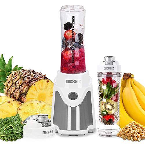 Duronic BL505 Mini frullatore - Mixer smoothie maker 500 W - Frullatore portatile con 2 bottiglie 600 ml senza BPA e infusore incluso - Ideale per frullati/palestra/frutta/verdura