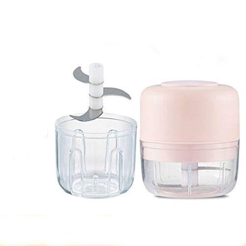 vston sbattitore elettrico per aglio da 250 ml+100 ml, tritacarne elettrico a doppia tazza, tritaverdure e cipolla (doppia tazza rosa)