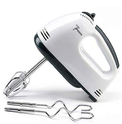 sfxfj sbattitore elettrico a 7 velocit, frusta portatile per cuocere torte da cucina, frullino per panna all'uovo, gancio per impasto * 2 e fruste in acciaio inox* 2, bianco