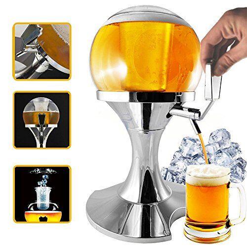 Bricok Spillatore Birra Sferico con Scomparto Ghiaccio da 3.5 Litri, Erogatore Birra e Altre Bevande, Mantiene i Liquidi Freschi, Dispenser e Refrigeratore di Bevande e Birra