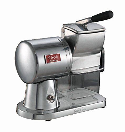 ariete 449 grat superior - grattugia elettrica professionale in alluminio pressofuso per formaggio, pane, cioccolata, frutta secca, 350 watt - argento spazzolato lucido