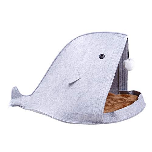 lifet cuccia per gatti hai, feltro, lifet per animali domestici con cuscino morbido e rimovibile, adatta per cani e gatti, 40 x 40 x 50 cm, blu/grigio/verde 1