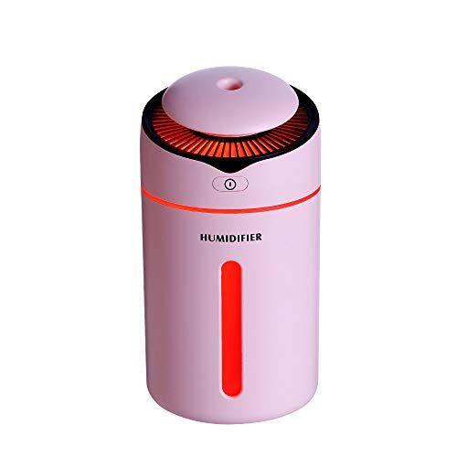 Modaworld Umidificatore Ambiente Ultrasuoni 300ml, Purificatore d'Aria Silenzioso 4 Colori, Auto Spegnimento Senza Acqua, Mini USB Umidificatore per Camera, Auto e Ufficio (Pink)