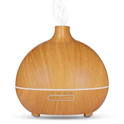 HDFIER umidificatore ambiente bambini a caldo Diffusore aromatico, Ultrasuoni Olio essenziale aromatico Diffusore Umidificatori Venatura del legno chiaro venatura del legno