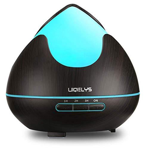 ZLQF Diffusore di aromi a LED, 300 ml, umidificatore ad ultrasuoni con 7 colori per soggiorno, camera dei bambini, camera da letto, cameretta dei bambini, sala yoga, SPA, ufficio, marrone scuro