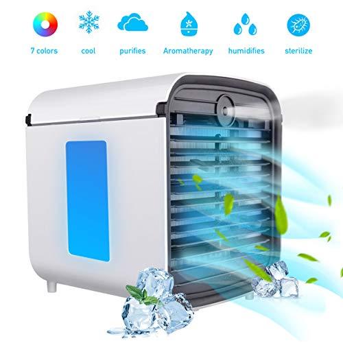 basein air cooler, condizionatore d'aria mobile 4 in 1, umidificatore, purificatore e diffusore di aromi, 3 velocità regolabili e 7 luci a led per casa e ufficio