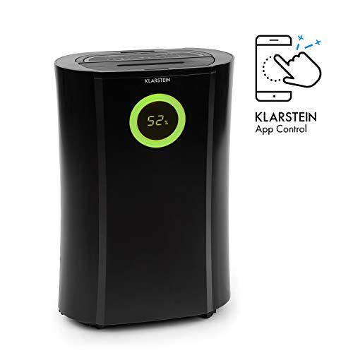 klarstein dryfy pro connect - deumidificatore a compressione, purificatore d'aria integrato con filtro, ionizzatore e funzione uv, interfaccia wifi, potenza 370w, nero