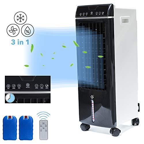 fromoth condizionatori a evaporazione, condizionatori portatili, con telecomando e timer, 3 in 1 [ raffreddamento, umidificazione e purificare i'aria ] climatizzatore mobile, flusso d'aria: 550 m³ / h - nero