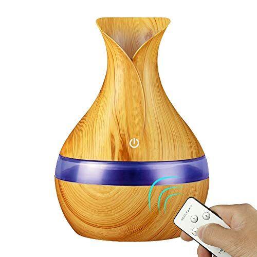 HDFIER umidificatore ambiente bambini a caldo Diffusore aromatico, Ultrasuoni Olio essenziale aromatico Diffusore Umidificatori Grano in legno 300ml colorato leggero a forma di vaso in legno
