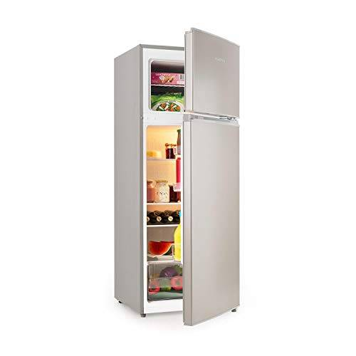 Klarstein Big Daddy L - Combinazione Frigo-Congelatore, Frigorifero da 166 Litri, Freezer da 41 Litri, Volume Totale 207 L, LED, Acciaio Inox, Argento