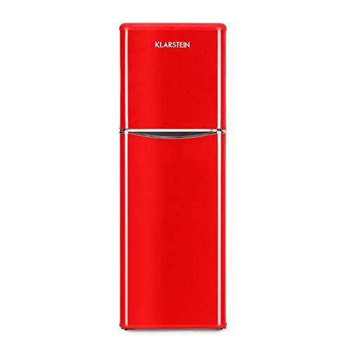 Klarstein Monroe XL Red - V-2, Combinazione Frigo-Congelatore, Frigorifero Combinato, 70 W, Look Retrò, Anni '50-'60, Silenzioso, 3 Ripiani in Vetro, Frigo: 97 L, Freezer: 39 L, Color Rosso