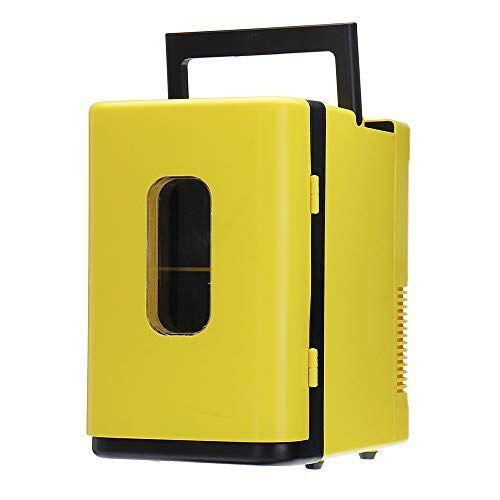 wffh mini frigo, 10 litri mini frigorifero più fredda e più con ac/dc cavi di alimentazione, super tranquillo in-vehicle freezer per l'automobile, camera da letto, ufficio,giallo