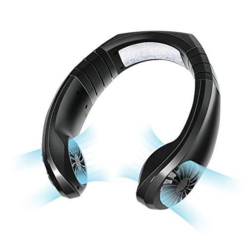 ZAHNG Neck Fan, Portatile Regolabile Collo Di Sport Band Con Altoparlanti Wireless, Supporto Bluetooth 5.0 / Chiamate in Vivavoce/TF/Line In, 3 Velocit Della Ventola, Raffreddamento Per Outdoor
