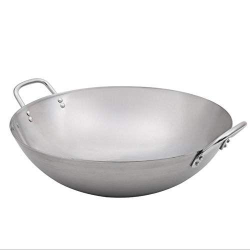 neutral wok biauricolare wok in acciaio inossidabile, vaso da stampa ispessito con fondo tondo fatto a mano vecchio stile ferro battuto non rivestito