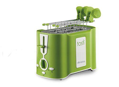 Ariete 124 Tostì - Tostapane 2 fette, Pinze acciaio inox, Vassoio raccoglibriciole removibile, Funzione scongelamento, 6 livelli di doratura, 500W, Verde